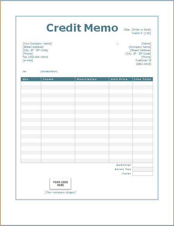 Credit Memorandum - Overview, Definition and Example - Plianced Inc.